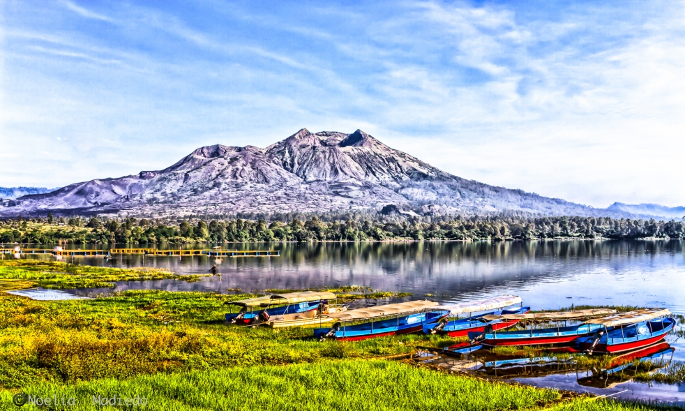 Panoramic view of Mount and Lake Batur