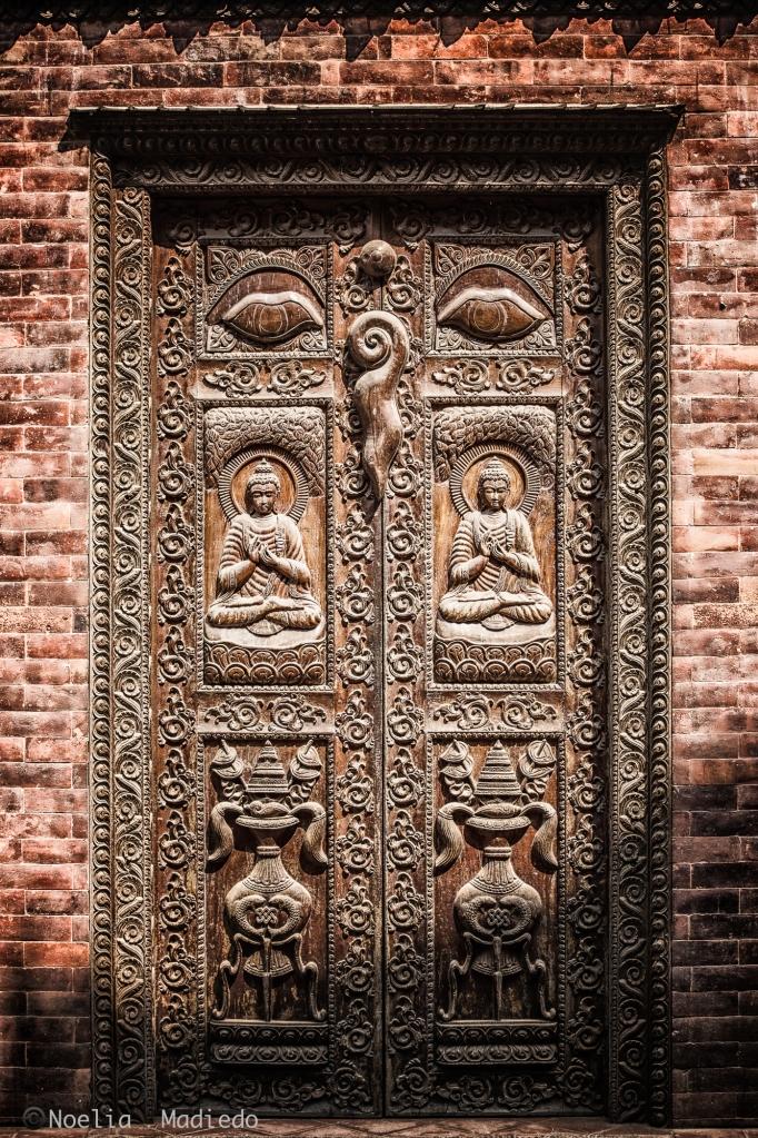 Beautiful wood carving in the doors of Bhaktapur