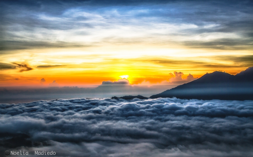 Sunrise in the top of Mount Batur.