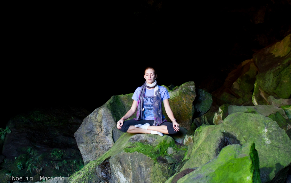Meditation in the holy caves around the Mount Batur.