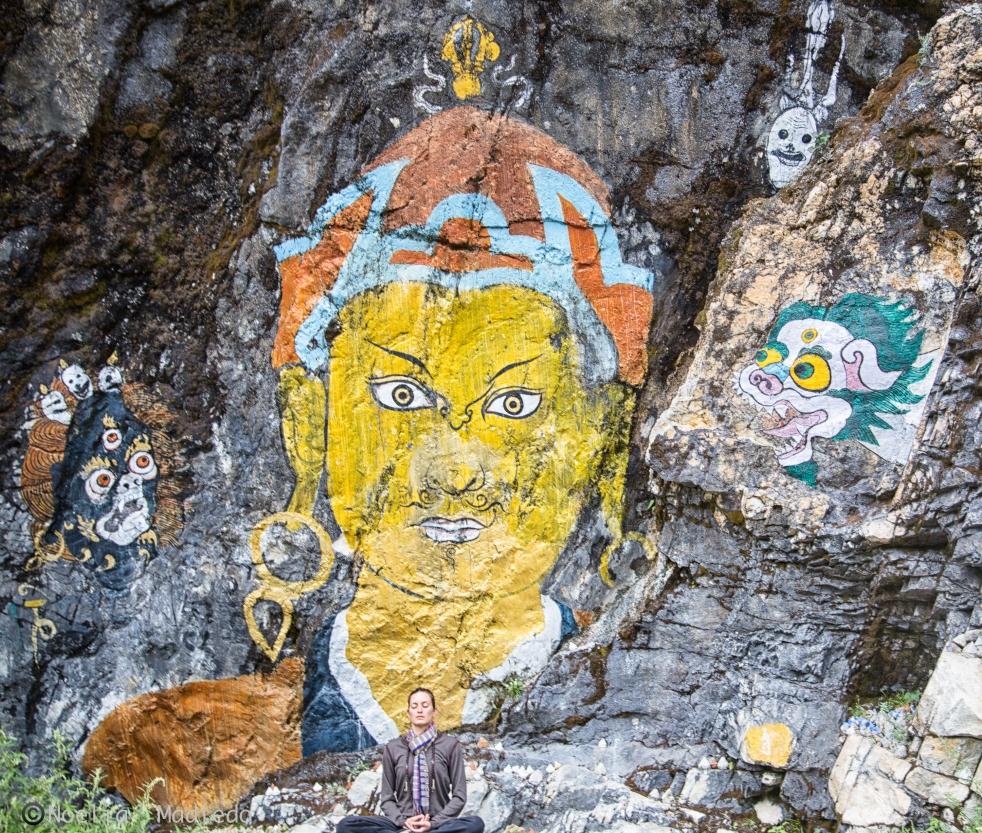 Meditation in Himalayan valley of Bumthang, Bhutan