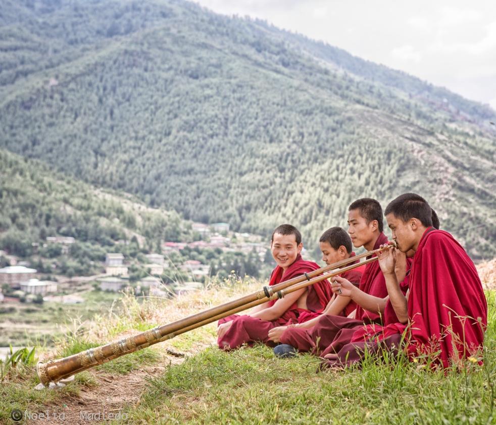 MORNING PRACTICE, YOUNG MONK MONASTERY IN BHUTAN